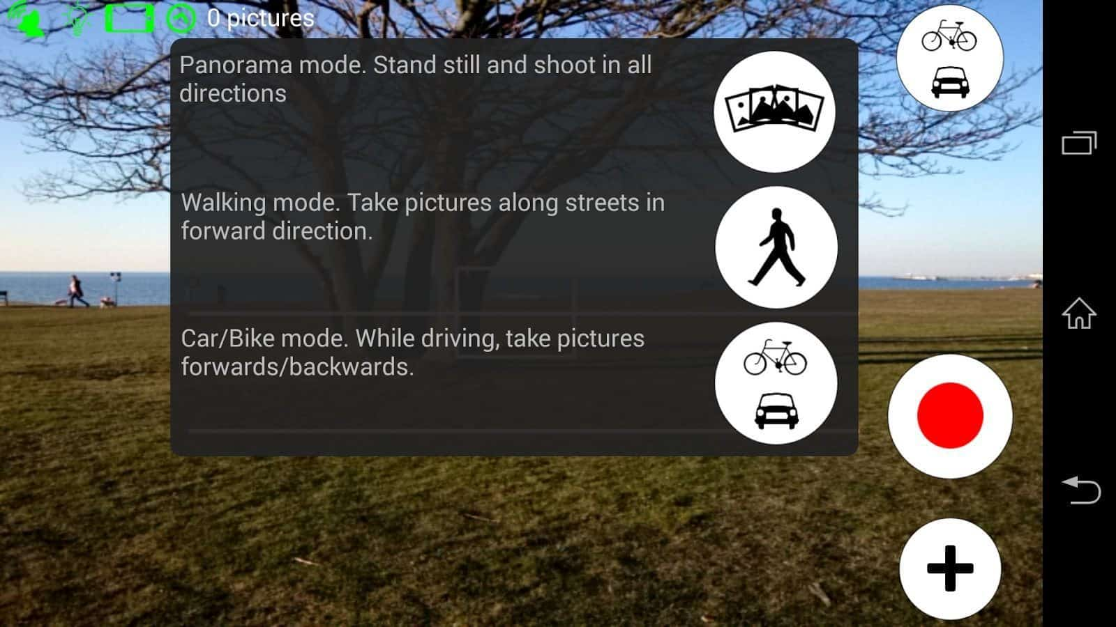 Android interface of the Mapillary app
