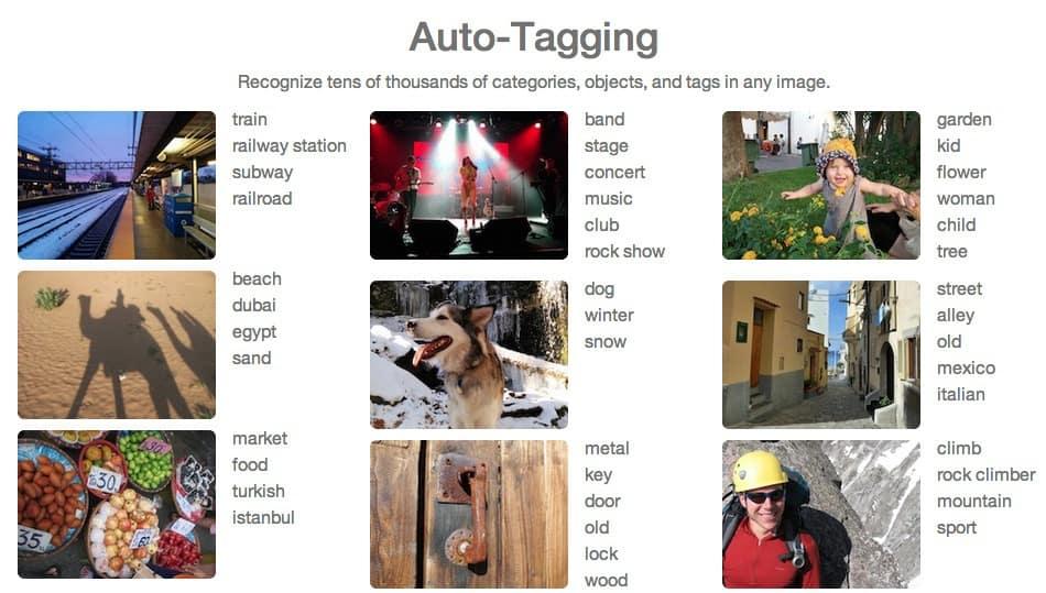 Clarifai example of auto tagging