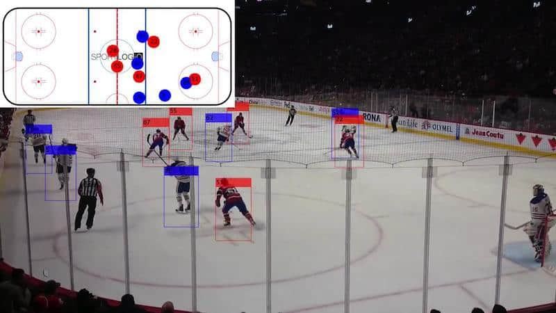 SportLogiq identifies and tracks each individual player throughout the game.