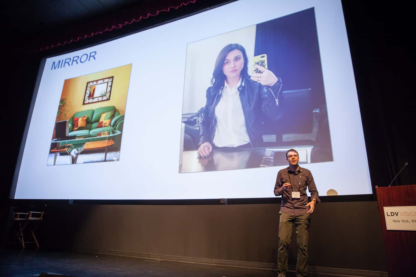 Larry Zitnick from Facebook explains how mirrors are a difficult task for visual recognition engines and what we need to do to solve it. ©Robert Wright/LDV Vision Summit