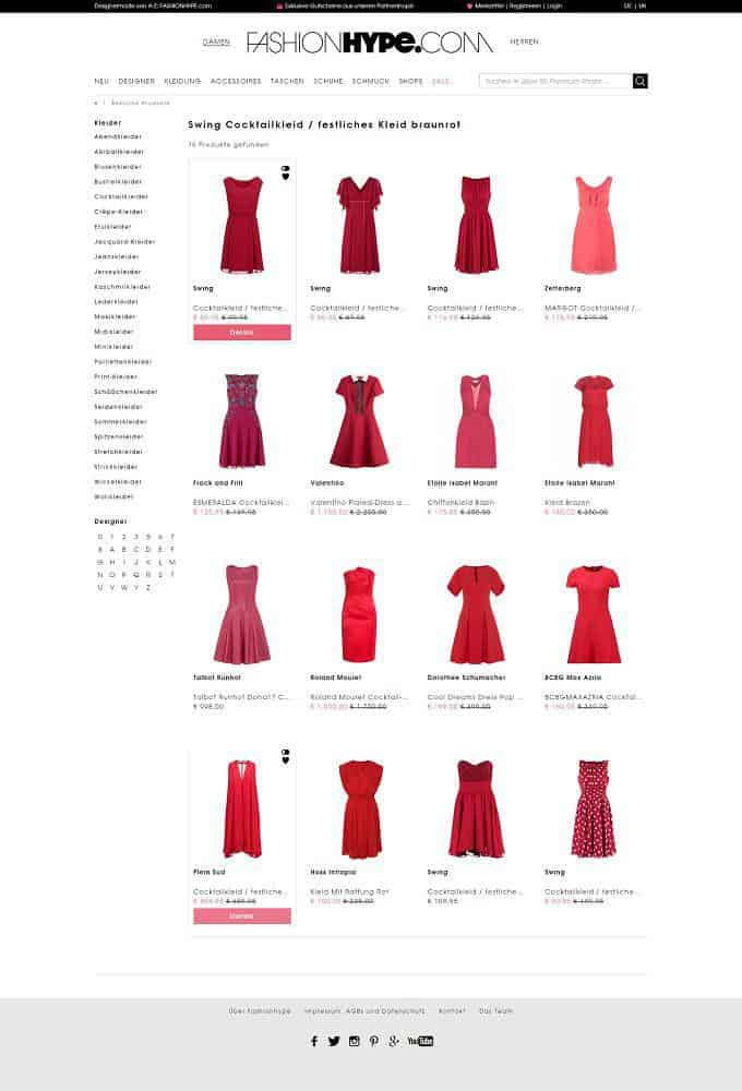 Fashion websites like FashionHype use Picalike´s visual tech to personalized category listing page, ranked by similarity of selected product