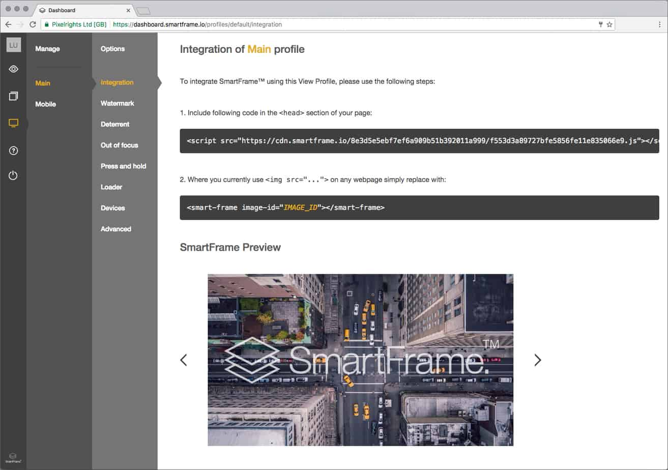 Example of the SmartFrame dashboard